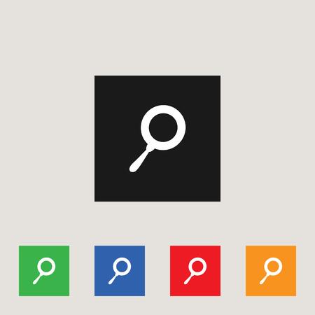 Search tool icon in multi-color square, stock vector illustration.