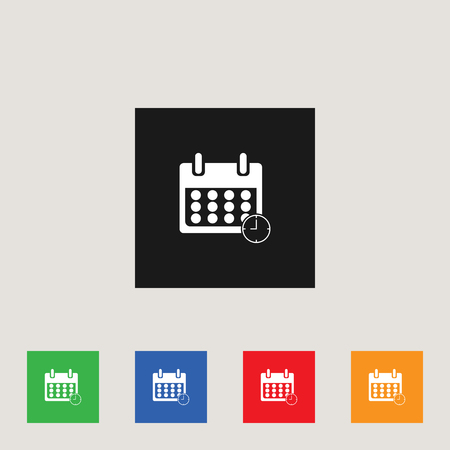 Calendar icon in multi-color square, stock vector illustration. Ilustração