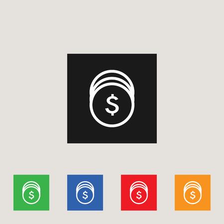 Coins icon in multi-color square, stock vector illustration. Illustration