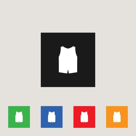 Vest icon in multi-color square, stock vector illustration.