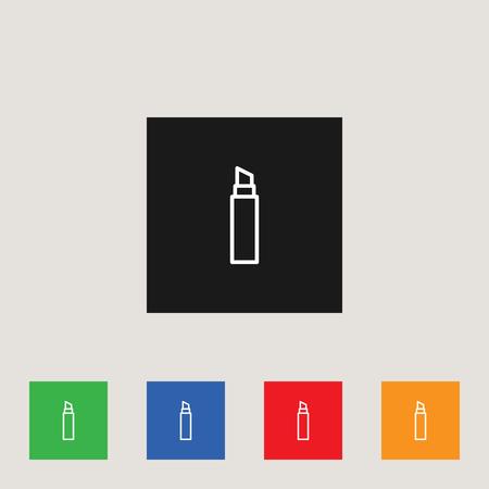 Lipstick icon in multi-color square, stock vector illustration.