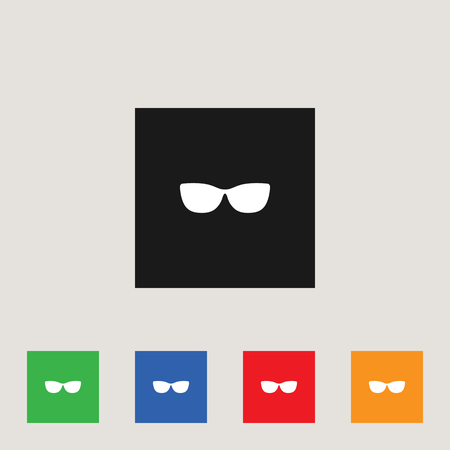 Glasses, spectacles icon in multi-color square, stock vector illustration.