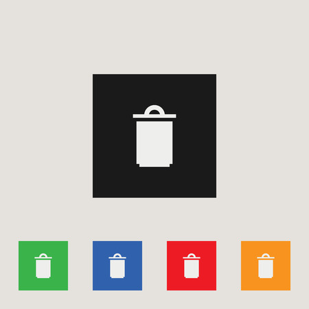 Trash can icon, stock vector illustration. Çizim