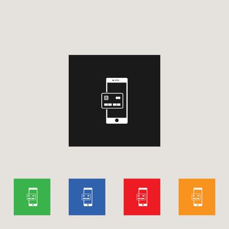 Money transaction by phone icon, stock vector illustration Illustration