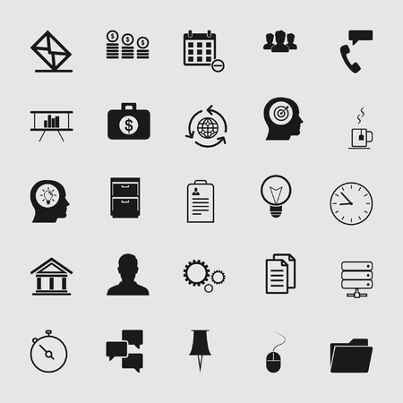 Vector business office icons set - computer and phone signs and symbols.