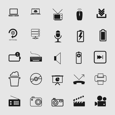 Vector illustration of standard and universal media and multimedia icons set
