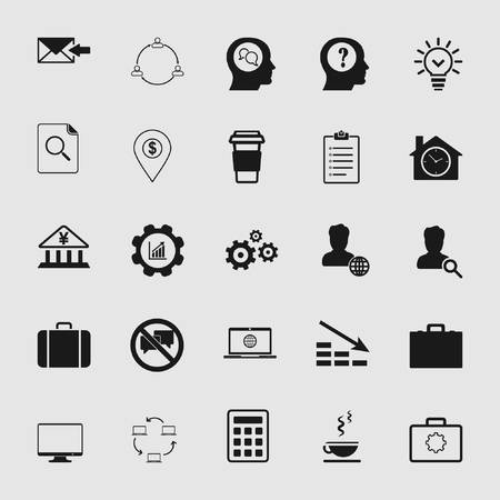 Set of standard and universal business and office icons