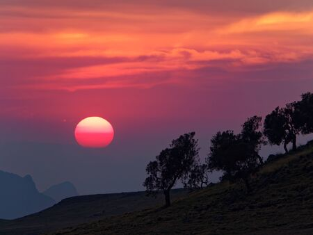 sunset in the semien mountains ethopia