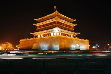 Xian Bell Tower at night photo