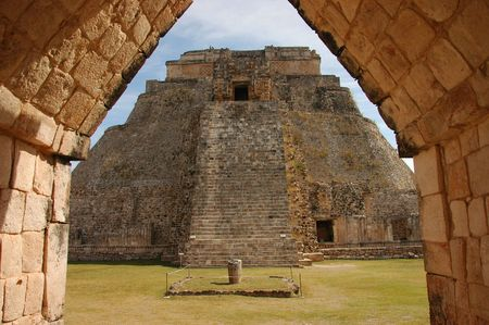 Uxmal pyramid framed by doorway