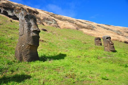 moai: Moai in the quarry on Easter Island, buried in the grass Stock Photo