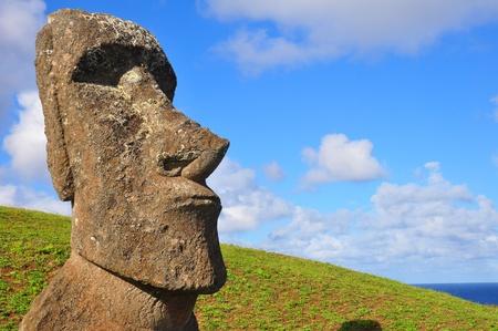 moai: Moai en el sol por la tarde en la isla de Pascua