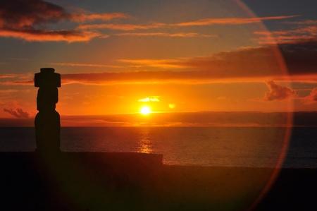 moai: Solitary Moai on Easter Island at sunset Stock Photo