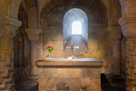 crypt: Sandstone altar in the crypt of Lund cathedral. Consecrated 1123. Editorial
