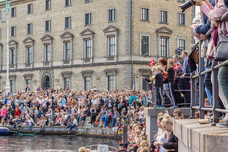 popular: People greeting popular danish sailing boat