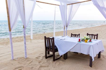koh samui: April 07, 2016, Koh Samui, Thailand, A  table on the Silver beach