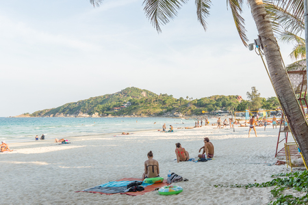 rin: Haad Rin, Koh Pangan, Thailand, April 30, 2016, People on the full moon party beach in Koh Pangan