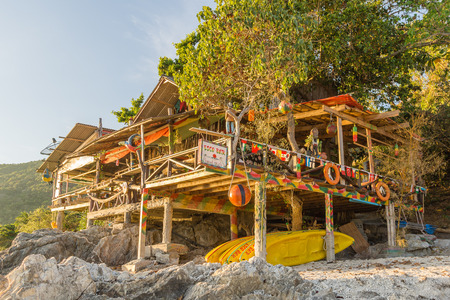 rin: Esco Bar at sunset beach Haad Rin. May 05, 2016,