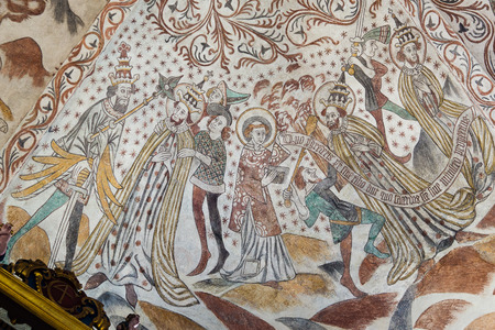 beheaded: The Pope is beheaded. Fresco in a Danish church. Over Draby, Nov 14, 2016, Editorial