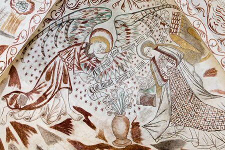 annunciation of mary: Annunciation. The angel Gabriel greets Mary: Ave gratia plena dominus tecum, Over Dr���¥by church, Denmark, Nov 14, 2016,