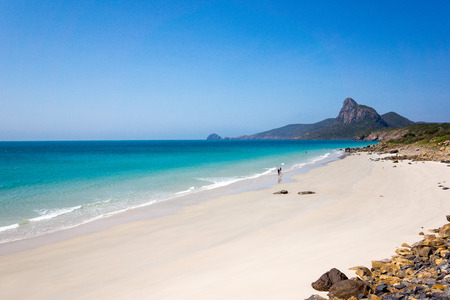 White  Vietnamese beach with turquoise water, Con Dao island, Vietnam, Feb 07, 2014, Editorial