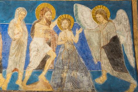 baptized: Jesus is baptized in the Jordan by John the Baptist, Fresco in Bjaresjo churh, Sweden, Sept 04, 2014, Editorial
