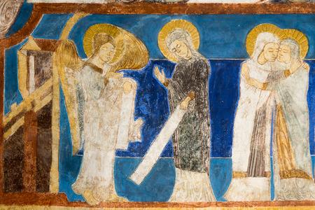 annunciation of mary: Annunciation. The angel Gabriel tells Mary that she will bear a son. Mary and Elisabeth. Fresco in Bjaresjo churh, Sweden, Sept 04, 2014,