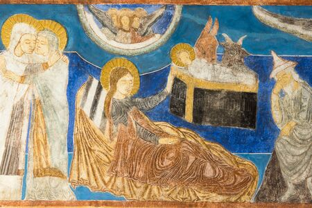 Fresque byzantine à l'église de Bjaresjo, en Suède, le 4 septembre 2014,