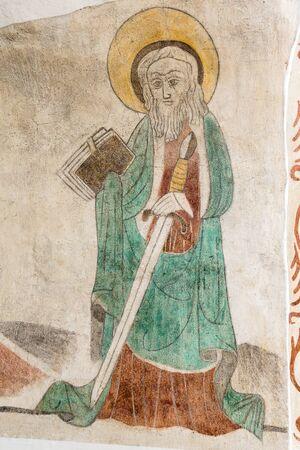 Fresco of St. Paul in a danish church,  Nov 14, 2016 Editorial