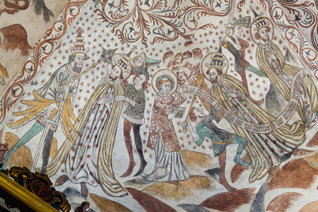 beheaded: The Pope is beheaded. Fresco in a Danish church. Over Dråby, Nov 14, 2016,