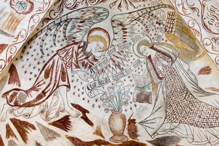 ave: Annunciation. The angel Gabriel greets Mary: Ave gratia plena dominus tecum, Over Dråby church, Denmark, Nov 14, 2016,