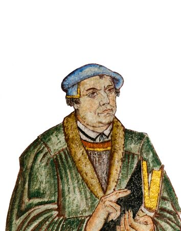 gustaf: Fresco of the german reformer Martin Luther. A wall-painting at Gustaf church in Copenhagen, Denmark, January 21, 2017