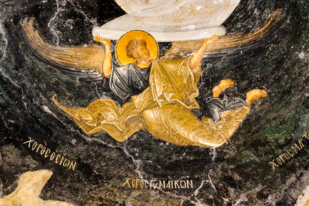 Angel holds the scroll of heaven, an old byzantine wall-painting in Chora church, Istanbul, Oct 11, 2013,