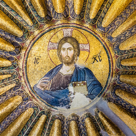 Mosaic of Christ Pantocrator in Chora Church, Istanbul, Oct 11, 2013,