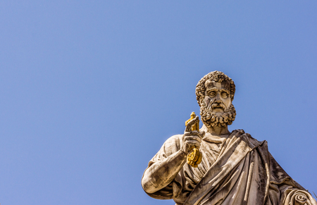 St. Peter with the keys in his hand, in front of St. Peters church, Rome, Italy - May 2, 2017