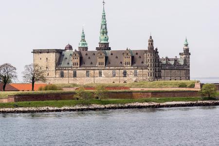 hamlets: Kronborg, Prince Hamlet´s castle in Elsinore, from the seaside, Denmark, May 14, 2017