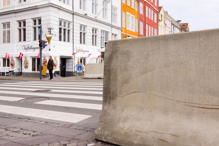 bollards: Concrete barriers protecting pedestrians from vehicle attack in Copenhagen - May 11, 2017