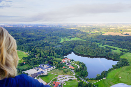 View from a hot air balloon over Skjoldnaesholm, Zealand, Denmark, August 14, 2017