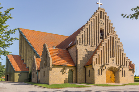 Christians Church in Fredericia, built 1930 in a yellow brick construction, Fredericia, Denmark, August 23, 2017 Editorial