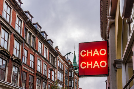 Chao Chao sign at the pedestrian street Kobmagergade in Copenhagen, September 21, 2017 Editorial