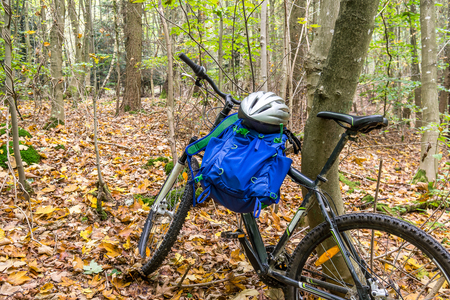 Mountainbike with rucksack and