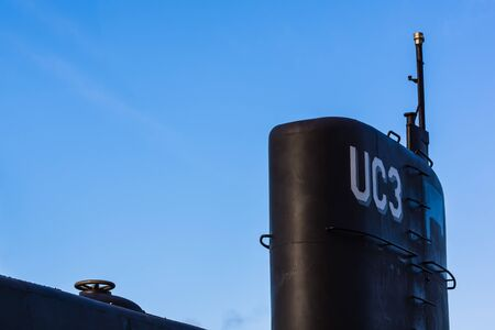 Submarine UC3 in Copenhagen harbor against blue sky. The owner Peter Madsen is charged  with manslaughter of the jounalist Kim Wall. Copenhagen, Denmark, October 26, 2017 Editorial