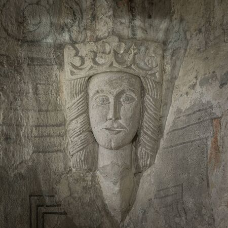 Medieval Stone sculptur of a Queen with a crown, in the vault of Ronneby church. Probably  Margareta Valdemarsdotter, Ronneby, Sweden, December 6, 2017