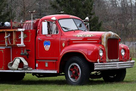 antique fire truck: Antique Fire Engine out of service