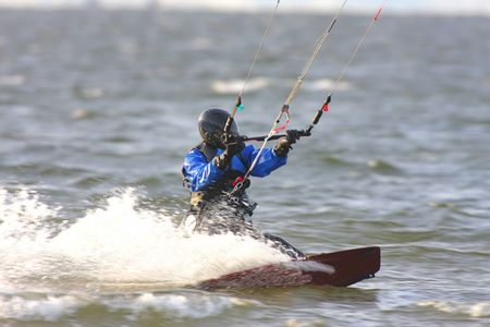 water skiing: Kite Boarding in the Atlantic Ocean