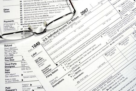 Close-up of a Federal Tax Return Form  Stock Photo