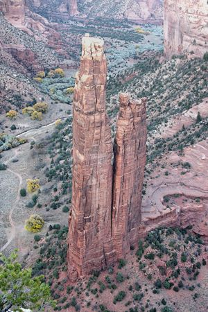 anasazi: Spider Rock rises 800 feet in Canyon de Chelly on the Navajo Reservation in Arizona