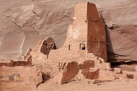 anasazi: Ancient Anasazi Antelope Ruins in Canyon de Celly National Park on the Navajo Reservation in Arizona Stock Photo