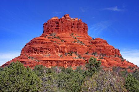 sedona: Bell Rock in Oak Creek Canyon in Sedona Arizona Stock Photo