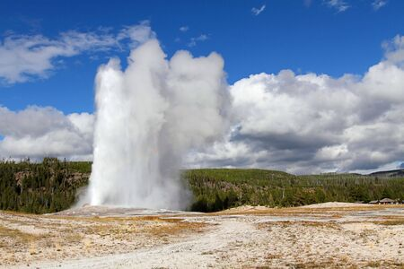 yellowstone: Old Faithful Geyser in Yellowstone National Park Stock Photo